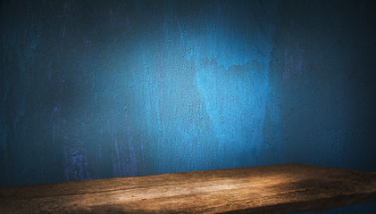 Old wood table top with smoke on a dark background. Empty space for your products. Fotomurales