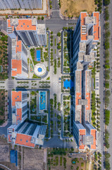 Top view photo of modern residence apartment buildings area