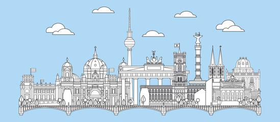 Berlin skyline line art 6 Fototapete
