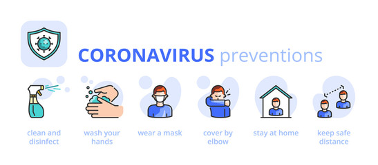 Information about Coronavirus preventions. Healthcare and medicine infographic.