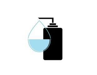The liquid soap icon. Hand wash symbol. Flat Vector illustration