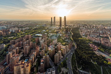 Wall Murals Madrid Aerial view of Madrid at sunrise