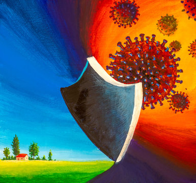 Virus COVID-19 Pandemic Protection Concept painting. Beautiful house on green meadow is protected by reliable shield against bacteria of Coronavirus disease COVID-19 virus