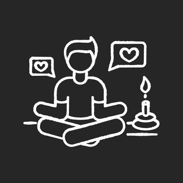 Lifestyle guru chalk white icon on black background. Person in meditation pose getting likes. Harmony and stress relief. Life coach. Zen and yoga. Isolated vector chalkboard illustration