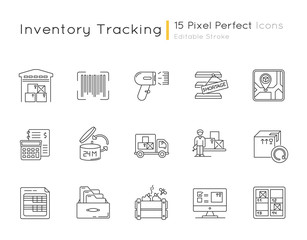Inventory tracking pixel perfect linear icons set. Warehousing, goods receipt and return, inventory. Customizable thin line contour symbols. Isolated vector outline illustrations. Editable stroke