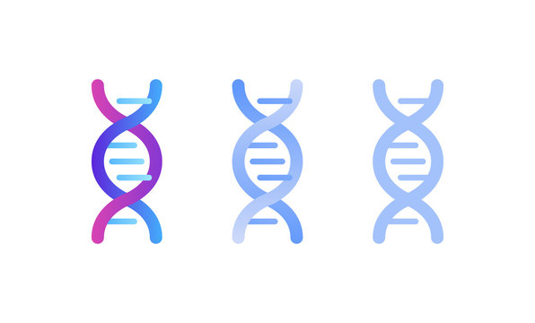 Genetic abstract concept. Vector color flat illustration. Set of DNA helix sign isolated on white background. Blue pink gradient. Design element for gene science, healthcare, medicine advertisement.
