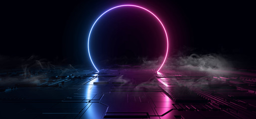 Smoke SCi Fi Futuristic Metal Reflective Schematic Textured Motherboard Floor Realistic Modern Neon Glowing Laser Circle Blue Purple Electric Shape Empty Background 3D Rendering