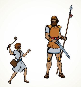 David and Goliath. Vector drawing