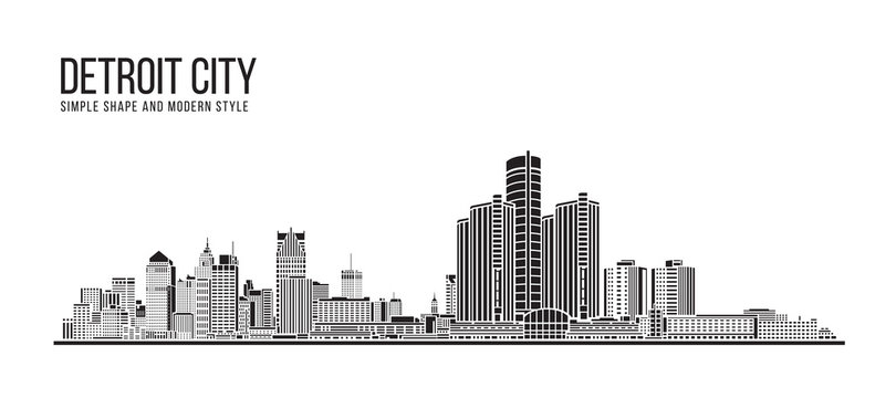 Cityscape Building Abstract Simple shape and modern style art Vector design - Detroit city