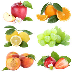 Wall Mural - Food collection fruits apple orange grapes berries apples oranges fresh fruit isolated on white