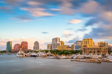 Wall Mural - West Palm Beach, Florida, USA downtown skyline on the Intracoastal Waterway