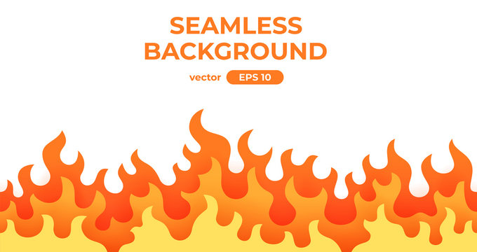 Seamless fire, flame frame border. Flat style vector illustration. Flame, fire, torch, campfire. Cute cartoon design. Red, orange and yellow colors. Realistic template.