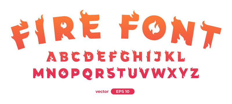 Fire alphabet. Burning letters. Flat style vector illustration. Font set isolated on a white background. Cartoon simple modern design.