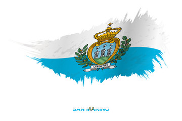 Flag of San Marino in grunge style with waving effect. Wall mural