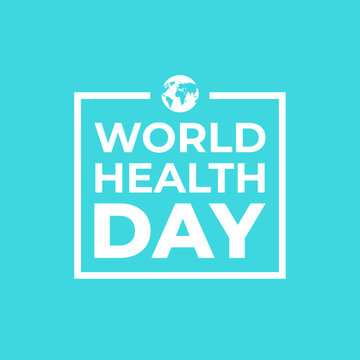 World health day banner with white and blue colors and a globe icon.