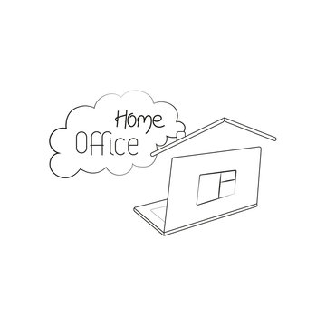 Home office symbol sign with laptop. Black and white vector illustration.