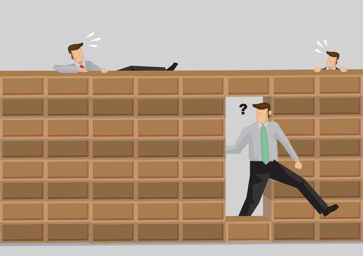 Taking Shortcut Versus Doing Things the Hard Way Cartoon Vector Illustration