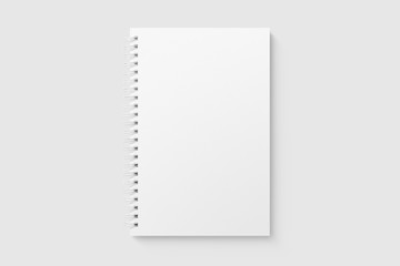 Photo sur Plexiglas Spirale Real photo, blank spiral bound notepad mockup template, isolated on light grey background. High resolution.