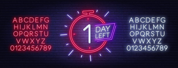 Fototapete - One day left neon sign. Countdown template. Neon alphabet on brick wall background.