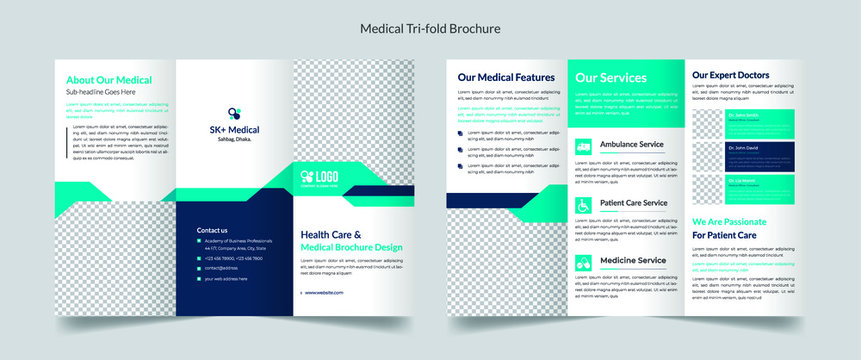 Medical, healthcare trifold brochure template