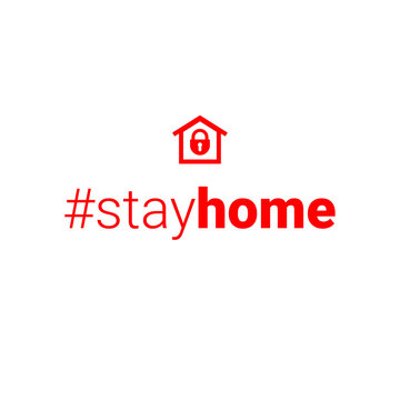 stayhome - stay home hashtag with sign red house and lock. Let s stay home campaign icon for Prevention of Coronavirus or Covid-19.