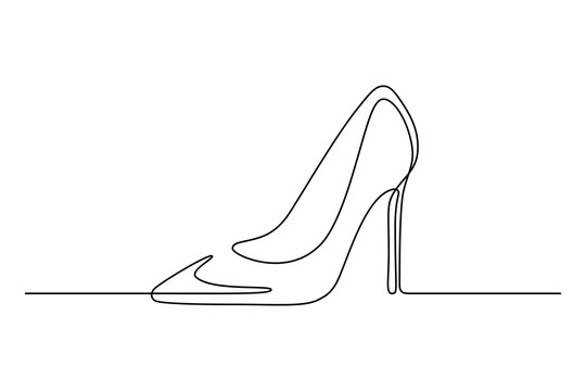 High-heeled shoe in continuous line art drawing style. Elegant women stiletto heels minimalist black linear sketch isolated on white background. Vector illustration