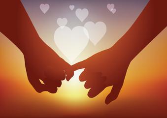 Fototapeta Concept du sentiment amoureux avec un couple qui fusionne en se donnant la main et en formant des cœurs. obraz