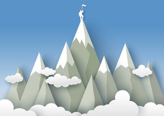 Mountaineering, vector illustration in paper art style Wall mural