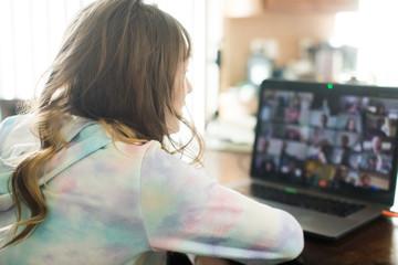 Fototapeta Virtual classroom at home on laptop obraz