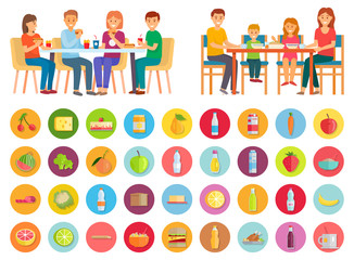Family having dinner at home. Two pictures, healthy domestic and unhealthy junk meals. Mother and father, daughter and son eating together. Isolated icons of products. Vector illustration in flat