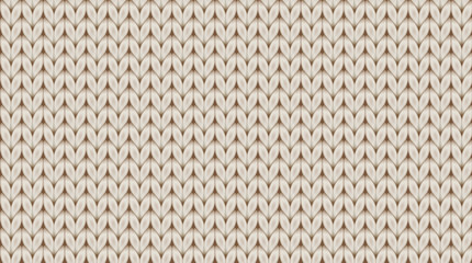 Knitted realistic seamless background of beige light color. Knitting vector pattern. Vector knit texture for background.