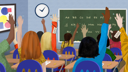 Children in classroom with ADHD raising their hands