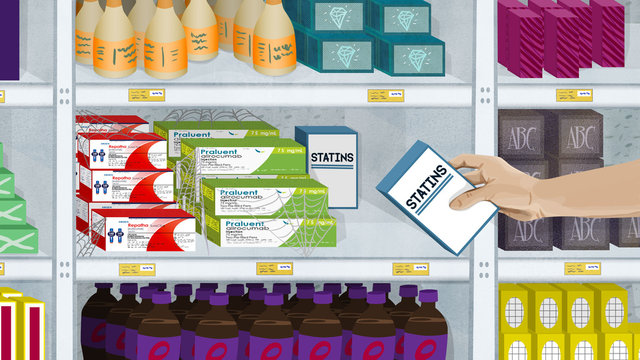 Prescription drugs on store shelf with other products