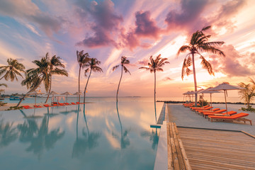 Wall Mural - Beautiful sunset at a beach in tropics. Summer landscape vacation or travel landscape under amazing colorful sky. Luxury lifestyle with infinity swimming pool, beach resort hotel, palms sun beds