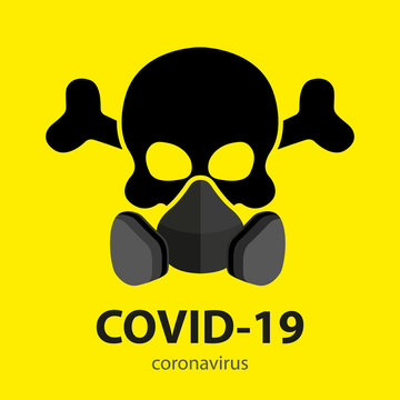 Black skull with crossbones in a respirator on a yellow background. Vector illustration