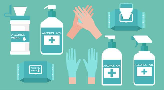 set of hand washing supplies for good hygiene, virus prevention and flu protection with hand sanitizers, alcohol gel, wet wipes and gloves, vector flat illustration