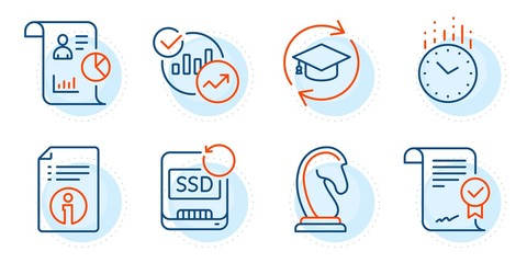Marketing strategy, Continuing education and Statistics signs. Time, Technical info and Report line icons set. Recovery ssd, Approved agreement symbols. Clock, Documentation. Education set. Vector