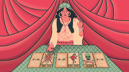Woman reading tarot cards with P-value and red velvet background