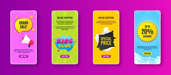 Kids club icon. Phone screen banner. Fun playing zone banner. Children games party area icon. Sale banner on smartphone screen. Mobile phone web template. Kids club promotion. Vector