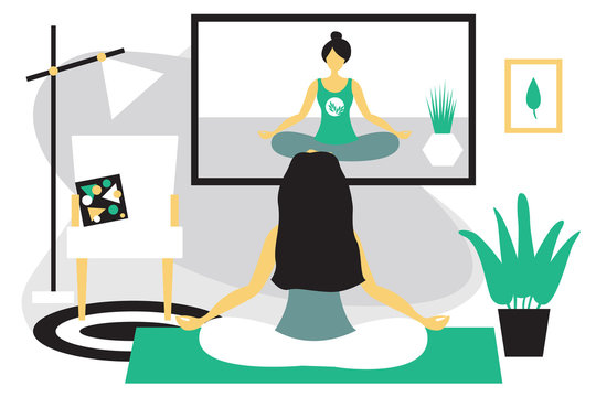 Woman doing yoga sitting in lotus position at home. Girl meditates. Girl watching yoga classes online on TV. Modern flat design concept of yoga. Bright vector illustration isolated on white background
