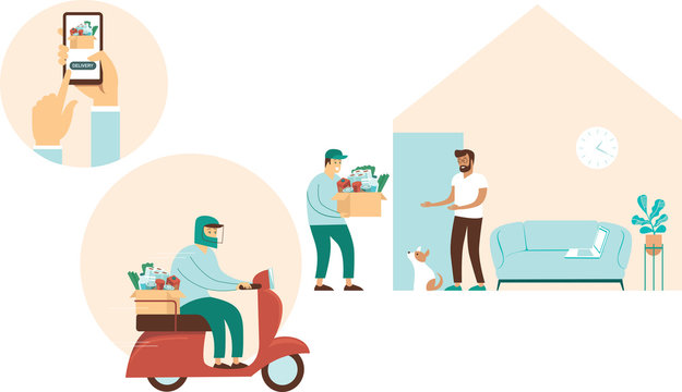 Grocery delivery at home. Concept for food delivery during quarantine. Self isolation