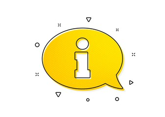Info center sign. Information icon. Support speech bubble symbol. Yellow circles pattern. Classic information icon. Geometric elements. Vector Wall mural