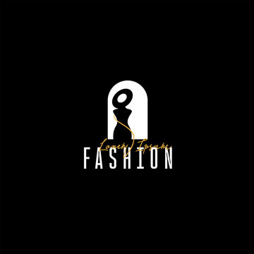 Logo fashion boutique, fashion logo template on a black background, silhouette of a girl in a hat in the window for your website, mobile application. Vector illustration