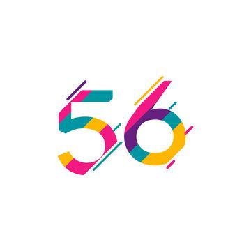 56 Years Anniversary Celebration Vector Template Design Illustration