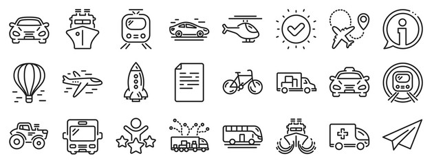 Taxi, Helicopter and subway train icons. Transport line icons. Truck car, Tram and Air balloon transport. Bike, Airport airplane and Ship, subway. Travel bus, ambulance car, paper airplane. Vector Fotobehang