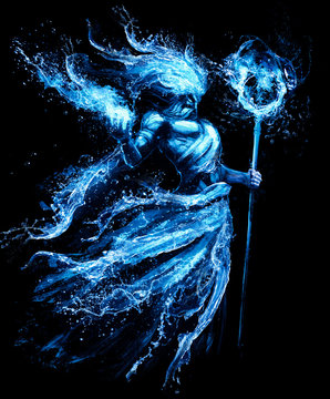 The water spirit is surrounded by many splashes of water and spray, holding a magic sphere in his right hand and a water staff in his left .2D illustration.