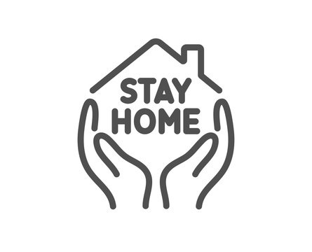 Stay home line icon. Coronavirus pandemic quarantine sign. Save lives symbol. Quality design element. Editable stroke. Linear style stay home icon. Vector