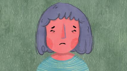 Upset girl closing eyes and frowning