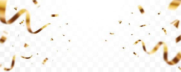 Fototapeta Gold confetti and ribbon background, isolated on transparent background obraz