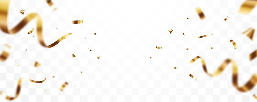 Gold confetti and ribbon background, isolated on transparent background